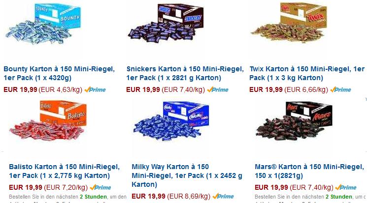 Mini-Riegel billig bei Amazon + Süßigkeiten fürs Büro