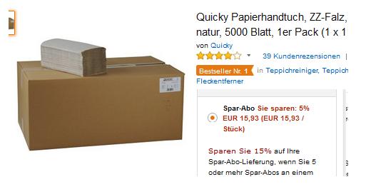 5000 Papierhandtücher von Quicky reduziert, versandkostenfrei
