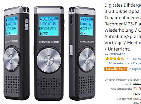 8 GB Diktierapparat Tonaufnahmegerät von TENSAFEE