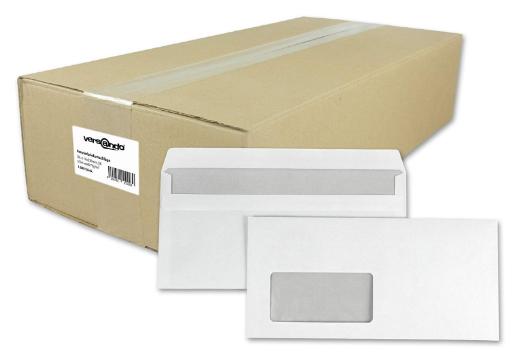 1000 Briefumschläge Din lang 22x11cm mit Fenster weiß selbstklebend
