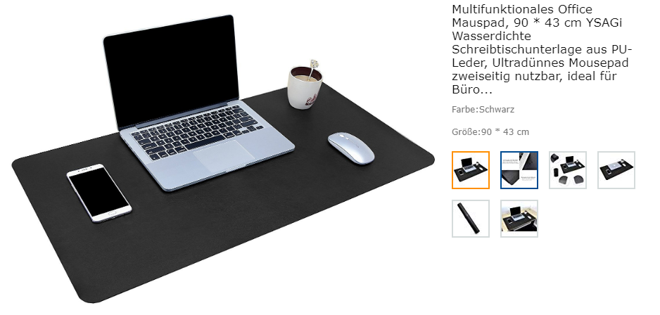 Amazon-Screenshot Multifunktionales Office Mauspad von YSAGi